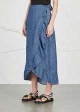 GESTUZ Cyndie ruffle-trimmed wrap skirt ~ long ruffled denim skirts