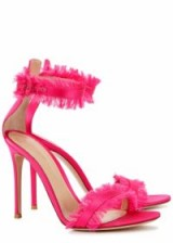 GIANVITO ROSSI 105 Caribe fringed satin sandals. HOT PINK FRINGE TRIM HEELS