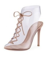 Gianvito Rossi Helmut Plexi Lace-Up 105mm Bootie ~ transparent PVC booties ~ clear shoe-boots