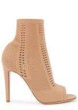 GIANVITO ROSSI Vires 105 camel stretch-knit boots. NUDE TONE PEEP TOE BOOTIES
