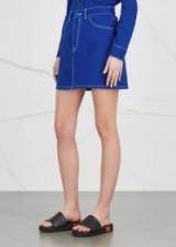 GIVENCHY Blue contrast-stitch denim mini skirt ~ casual designer skirts