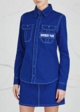 GIVENCHY Blue contrast-stitch denim shirt ~ casual shirts