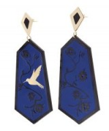 ANNA E ALEX Gold-Plated Fiori di Ciliegio Enamel Drop Earrings ~ blue statement jewellery