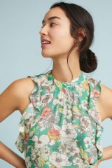 Maeve Gramercy Ruffled Top | sleeveless green floral tops