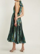 MARIA LUCIA HOHAN Gwen deep V-neck pleated lamé gown ~ blue metallic plunge front halter dresses