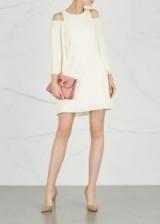 HALSTON HERITAGE Ivory open-shoulder dress ~ chic cold shoulder party dresses