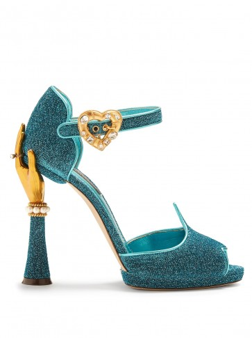 DOLCE & GABBANA Hand-embellished turquoise-blue sandals ~ beautiful Italian shoes