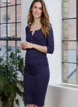 ISABELLA OLIVER HARLEY MATERNITY DRESS – navy ruched dresses – chic pregnancy fashion
