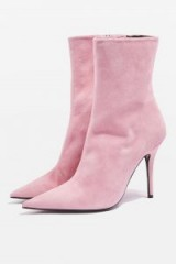 TOPSHOP Hazzard Ankle Boot / pink leather pointy toe boots