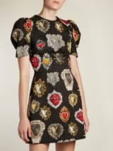 DOLCE & GABBANA Heart-print puff-sleeved mini dress ~ feminine style dresses
