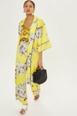 Topshop Heron Print Trousers | yellow wide leg pyjama style pants