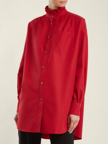 SONIA RYKIEL High-neck ruffle-detailed red cotton-poplin shirt ~ ruffled shirts