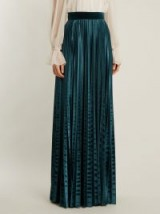 LUISA BECCARIA High-rise pleated teal-blue velvet skirt
