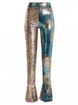 HALPERN High-rise blue, pink and gold sequin-embellished skinny trousers