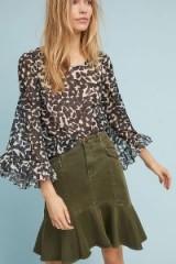 Maeve Holma Utility Flounce-Hem Skirt | green flippy skirts