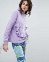 House Of Holland Bodice Panel Hoodie – lilac ruffled hoodies