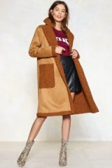 NASTY GAL In the Fur-eseeable Future Shearling Coat ~ camel coats