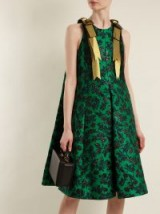 ERDEM Indiana peony-jacquard bow-detail dress ~ emerald-green trapeze dresses
