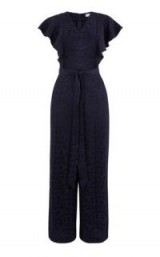 WAREHOUSE JACQUARD JUMPSUIT NAVY / blue ruffle jumpsuits