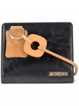 JACQUEMUS logo plaque tote | small black and tan bags