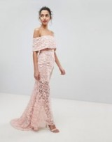 Jarlo All Layered Bardot All Over Embroidered Lace Maxi Dress – nude evening dresses – glamorous off the shoulder dresses