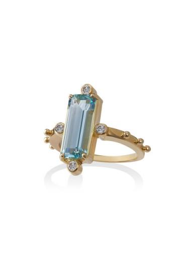 JESSIE WESTERN 18k gold ring with aquamarine and diamond / blue stone 18k gold rings / aquamarines & diamonds