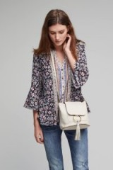 ANTHROPOLOGIE Johanna Leather Crossbody Bag | cream O ring bags