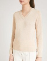 JOSEPH V-neck metallic-knit jumper in stucco ~ natural tone jumpers