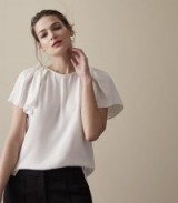 REISS JOSIE RUFFLE-DETAIL TOP OFF WHITE / feminine tops