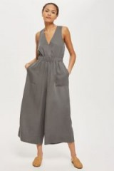 Native Youth Grey Wide Leg Jumpsuit | cropped jumpsuits