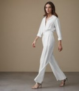 Reiss JUNO WIDE-LEG JUMPSUIT OFF WHITE