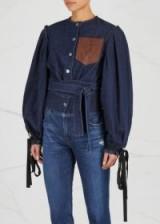 JW ANDERSON Indigo cropped denim jacket ~ balloon tie-sleeve jackets