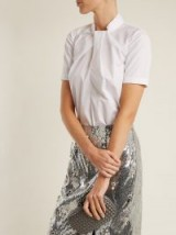 ERDEM Karola high-neck cotton-poplin top ~ white folded front tops