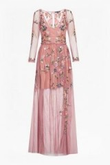 FRENCH CONNECTION KATALINA SHEER MAXI DRESS | rose-pink embroidered dresses
