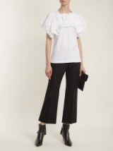 ALEXANDER MCQUEEN Black Kick-flare wool-blend cropped trousers – crop leg flares