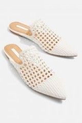 Topshop Knot Woven Mules | white pointy flats