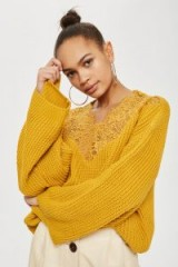 Topshop Lace Detail Cropped Jumper | mustard-yellow slouchy jumpers