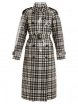 BURBERRY Laminated-tartan wool trench coat ~ plastic coated macs