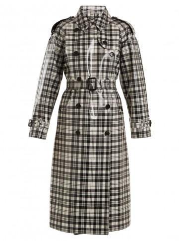 BURBERRY Laminated-tartan wool trench coat ~ plastic coated macs