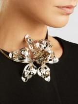 LANVIN Embellished Silver-Tone Flower Necklace – statement floral necklaces