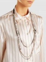 LANVIN Embellished Tiered Silver-Tone Necklace – crystal and pearl statement necklaces