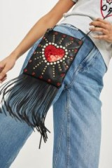 Topshop Leather Loveheart Cross Body Bag | fringed boho bags