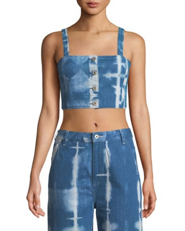 Levi's Made & Crafted Button-Front Tie-Dye Denim Crop Top