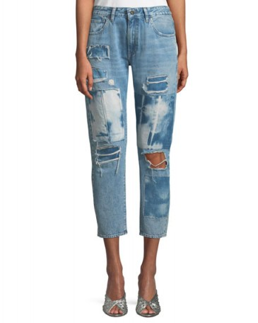 Levi's Made & Crafted Crush Taper Tidal Wave Straight-Leg Jeans ~ destroyed denim