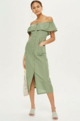 Topshop Linen Bardot Midi Dress | 70s style off shoulder sundress | khaki-green spring/summer dresses