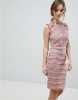 Lipsy Allover Lace Dress with Ruffle Detail – sleeveless pink dresses