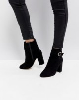 Lipsy Ring Buckle Detail Boot ~ black chunky heel ankle boots
