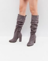 Lipsy Ruched High Leg Boot ~ grey slouchy boots