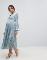 Little Mistress Maternity Wrap Front Midi Dress With Lace Pleated Skirt in Cornflower – blue pregnancy occasion dresses