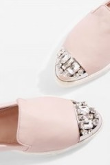 Miss KG LOLLIE Nude Slip On Pumps. CRYSTAL FLATS
